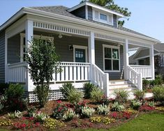Bungalow House Plan with Optional Attached Garage - thumb - 04 Bungalow House Plans, Cottage House Plans, Small House Plans, Front Porch Design, Front Porch Railings, Built In Seating, Cottage Style Homes, Craftsman Bungalows, Beach Cottages