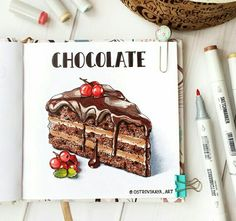 Chocolate cake drawing looking Copic Marker Art, Marker Kunst, Copic Art, Sketch Markers, Sweet Drawings, Cool Art Drawings, Realistic Drawings, Colorful Drawings, Art Sketches
