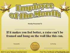 Employee Of The Month Funny Certificate Pdf  My Thoughts