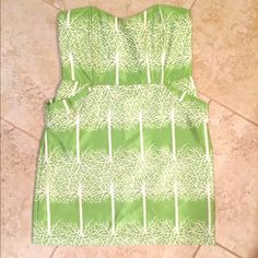 DejaVu Green Sweetheart Strapless Dress Worn once. Great condition! So cute on! Anthropologie Dresses