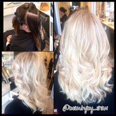 Olaplex. Platinum blonde.  Www.airdrybar.com Facebook- https://www.facebook.com/ShanAinsworth Instagram- @beautyby_shan