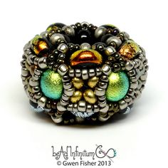 Pentacluster Beaded Bead in Dichro Lime and Orange