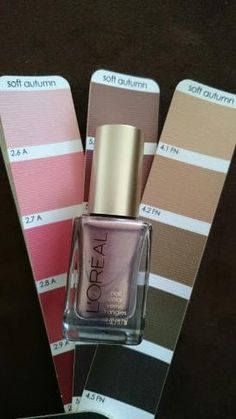 """L'Oreal Nail polish in """"Charmed I'm Sure"""". Great Soft Autumn metallic color between the browns and pinks on the SA fan."""