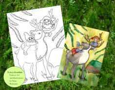 Digital Stamp - Elves and reindeer - Instant Download - Coloring page - Arts&crafts - Fantasy art by Niina Niskanen
