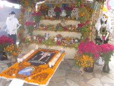 Day of the Dead altar with tapete, Monte Alban. www.johnkachuba.com