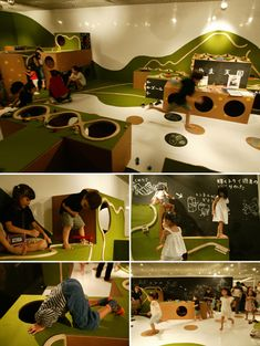 Three types of cardboard units, railways, blackboard, and tunnels, are spread around the site, like building blocks. A train runs along the rails on the floor and suddenly climbs up a wall, and eventually fades into the mountain far away. Blackboards can be drawn from every angle.