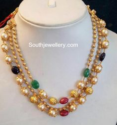 Nakshi Balls and South sea Pearls Mala photo India Jewelry, Bead Jewellery, Pearl Jewelry, Gold Jewelry, Beaded Jewelry, Beaded Bracelets, Jewelery, Pearl Necklaces, Latest Jewellery