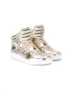 DOLCE & GABBANA Metallic Leather High-Top Sneakers
