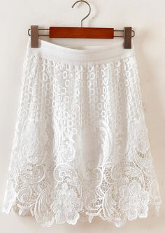 White Hollow Embroidered Lace Skirt - Sheinside.com