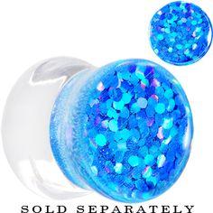 00 Gauge Azure Glitter Inlay Saddle Plug | Body Candy Body Jewelry