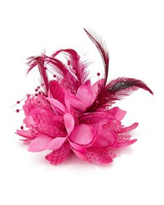 Feathered Lace Fascinator Hair Clip, Azalea by Bow Arts at Neiman Marcus.
