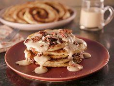 Cinnamon Bun Pancakes with Maple Cream Cheese Glaze recipe from Bobby Flay via Food Network