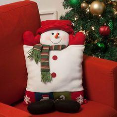 Almofada Natalina Boneco de Neve com Botas 50cm - Orb Christmas