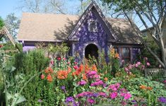 Colorful perennials are used instead of lawn in this Austin, TX garden.