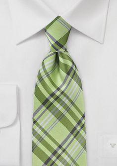 Modern Lime Green Plaid Tie