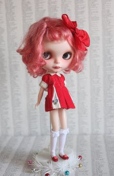 My Favorite Penny Brite - Vintage 1960's Red and White Dress and Sweet Sally Hair Bow clip-  fits Blythe, Ginny, Susie Sad Eyes