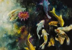 Koi by Katy Jade Dobson is a signed limited edition print. Other prints and originals by Katy Jade Dobson are available from Rennies Gallery. Pond Painting, Artist Painting, Painting Prints, Jellyfish Art, Sea Life Art, Ledoux, Oil Painters, Wildlife Art, Limited Edition Prints