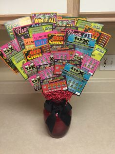Scratch-Off Arrangement or Scratch-Off Bouquet, whichever you call it, it's made with scratch-offs lol