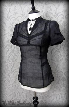 Black NEW Gothic Pearl Steampunk Victorian Ruched Top 18 Plus
