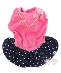 Vestido Aveludado Rosa - Com Saia de Bolinhas