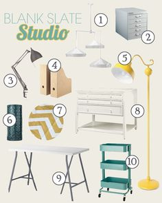 Craft Room Mood Board. That Ikea cart is on my to-buy list the second I get the money for it.