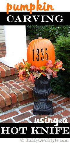 How to carve a pumpkin with a hot knife.  Numbers, letters, and detailed cuts are easy!