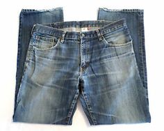 Mens Size 38x34 UNIQLO S-002 Selvedge Denim Jeans, Straight Fit, Stonewashed