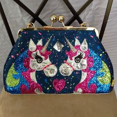 Host Pick❤️ Irregular Choice Unicorn Bag Navy blue with paint splats, gold accents and sparkly unicorns!!  Used few times but still in near excellent condition!  Comes with matching removable strap.  Bundles save more!!  No trades.  No holds.  Irregular Choice Bags Crossbody Bags