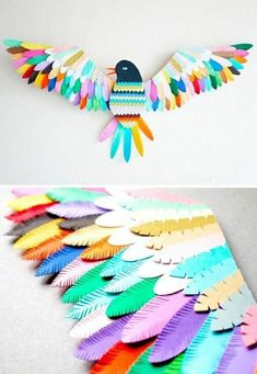 Sculpture oiseau papier / Paper bird sculpture Lyons Lyons Lyons Gabbert lets get together and make this! its so pretty! Kids Crafts, Diy And Crafts, Arts And Crafts, Wood Crafts, Leaf Crafts, Paper Birds, Paper Flowers, Diy Paper, Paper Crafting