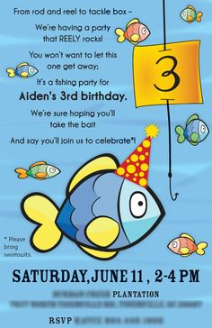 3rd Birthday Invitation - Fish theme