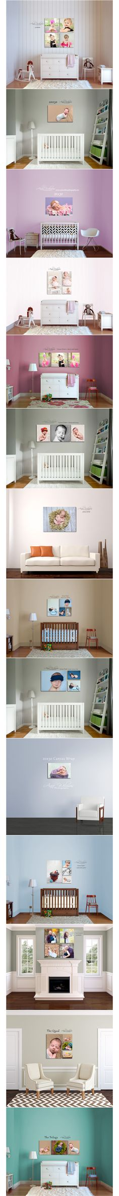 Baby photo display ideas, Canvas hanging options, ways to group photos on a wall, Anne Wilmusphotography, Pittsburgh Newborn and maternity photographer