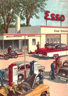 Motorcycles Modifications: Esso gas station 1950s - roadmap