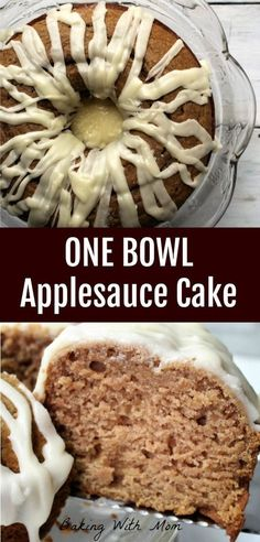 One Bowl Applesauce Cake flavored with apple and cinnamon topped with a lemon frosting. Delicious and easy to make dessert recipe.