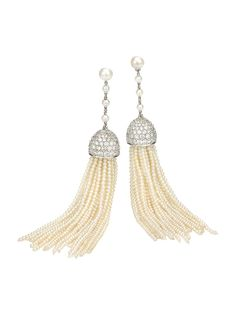 Ivanka Trump 18k White Gold Sea Pearl Tassel Earrings with Diamond Accents. Available at London Jewelers!