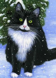 Tuxedo cat winter snow limited edition aceo print by Bridget Voth