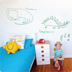 <3 these hand-drawn dinosaur wall decals!