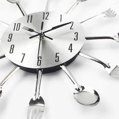 2017 Nuova Cucina Moderna Orologio Da Parete Sliver Posate Orologi Cucchiaio Forcella Creativo Adesivi Murali Meccanismo di Design Per La Casa Horloge