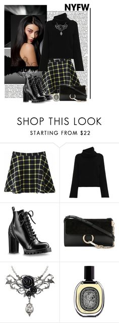 """Nyfw Plaid"" by polybaby ❤ liked on Polyvore featuring WithChic, Chloé, Diptyque, contestentry and NYFWPlaid"