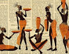 Decoración africana de la impresión impresión del por FineArtCenter