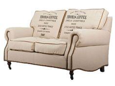Details Zu Eiffel 2 Sitzer Classic Sofa Leinen Vintage Creme Weiß 2er Couch  Zweisitzer NEU
