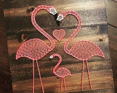 Pink Flamingo string art, approximatley 17 tall x 17 wide. Wood will be stained dark walnut and will be distressed along the edges. Please contact us for free local pickup. Anchor String Art, Nail String Art, String Crafts, Flamingo Decor, Pink Flamingos, Arte Linear, Diy And Crafts, Arts And Crafts, String Art Patterns