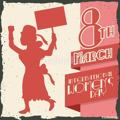 Woman Silhouette Marching in Women's Day Retro Poster