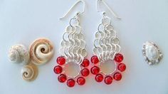 Chain Maille Earrings  Red and Silver by HighestTideJewelry