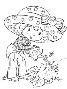 Pictures Strawberry Shortcake Watering Plant Coloring For Kids