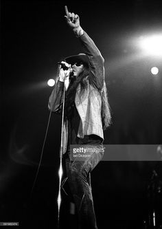 Ian Astbury of The Cult performing on stage at Wembley Arena, London 24 November 1989.