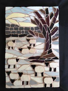 Sheep in winter mosaic
