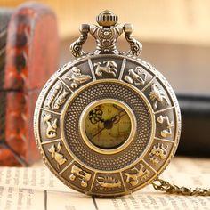 R eacute tro 12 Constellations Quartz Montre De Poche Vert Clair Carte Dail  Motif Casual Collier Cha icirc ne Fob Horloge Hommes Dames Meilleur Cadeau 74e3583689a