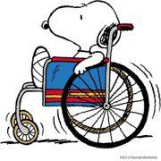 Wheelchairs can be fun...popping wheelies, spinning in circles, racing your friends on their skateboards, etc (your mom's gonna strangle me!) but I wanted to tell you, and so does Snoopy, you hang in there! Keep rockin' & ROLLIN' ...you'll be better in no time! Big hugs! Love, Auntie Linda & Snoopy