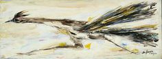 """Upon request here is a photo of DeGrazia's """"Roadrunner"""". Hope you enjoy it as much as we do!  DeGrazia's Roadrunners and Coyotes are currently on display in the Spider Room at the Gallery in the Sun.. #TedDeGrazia #DeGrazia #Ettore #Ted #Artist #GalleryInTheSun #ArtGallery #Gallery #NationalHistoricDistrict #Foundation #Nonprofit #Adobe #Architecture #Tucson #Arizona #AZ #Catalinas #Desert #PaletteKnife #Oil #Painting #Roadrunner"""