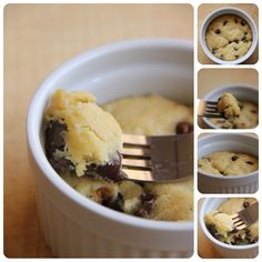 Cookie in a cup. Mix in a coffee cup and cook in the microwave for 40-60 seconds:   1 tbsp. butter, melted  1 tbsp. white sugar  1 tbsp. brown sugar  3 drops of vanilla  pinch of salt  1 egg yolk  1/4 c. flour  2 tbsp. chocolate chips